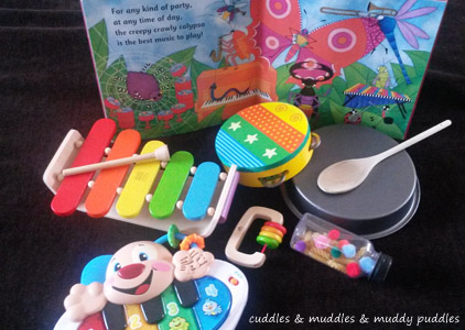 Musical instrument activity with the Creepy Crawly Calypso
