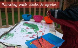Painting with sticks and apples