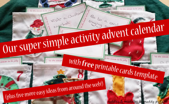 Super simple activity advent calendar - with free cards template