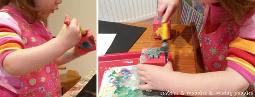 Making Christmas prints - cuddles & muddles & muddy puddles