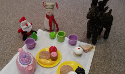 Picnicking pretend play with Rosie the Reindeer