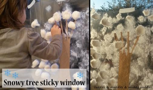 Snowy tree sticky window - cuddles & muddles & muddy puddles