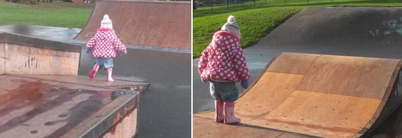 Fun on the skate ramp