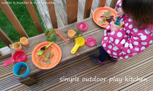 Simple outdoor play kitchen