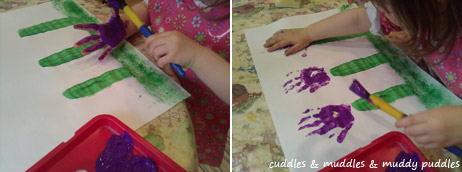 Making handprint flowers