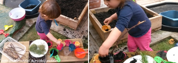 Making in the mud kitchen