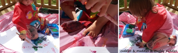 Messy painting outdoors for toddlers