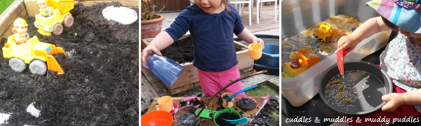 Outdoor messy play for toddlers