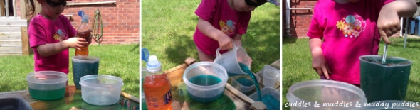 Coloured water play for toddlers